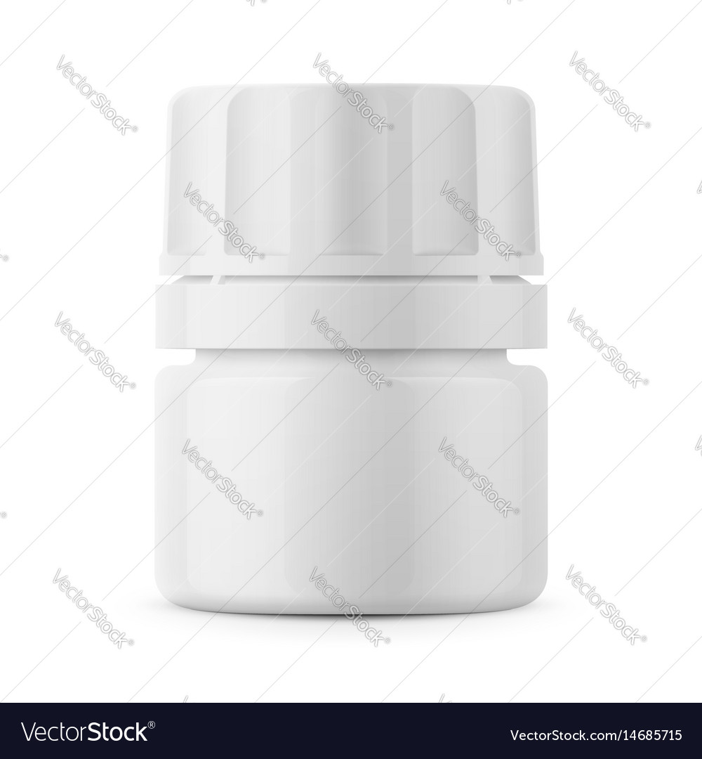 White plastic tablet bottle template vector image