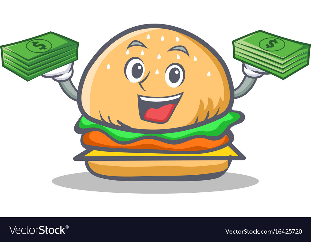 Burger character fast food with money vector image