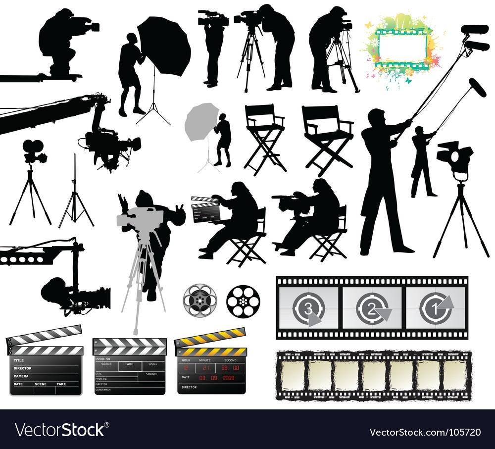 Cameramen and film set equipment vector image