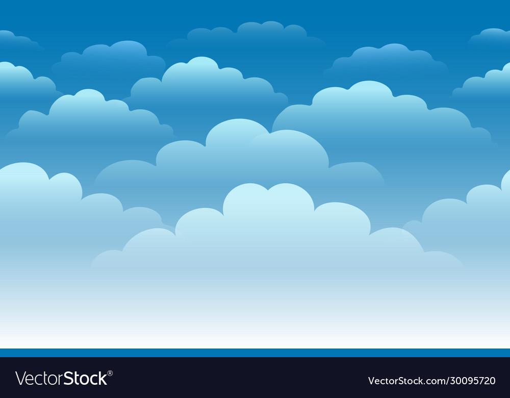 Cartoon cloudy sky horizontal seamless background
