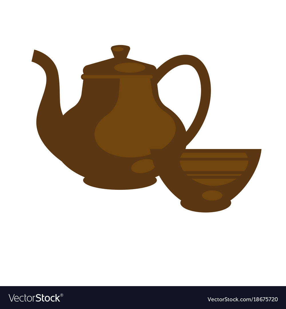 Chinese ceramic teapot for tea time flat vector image
