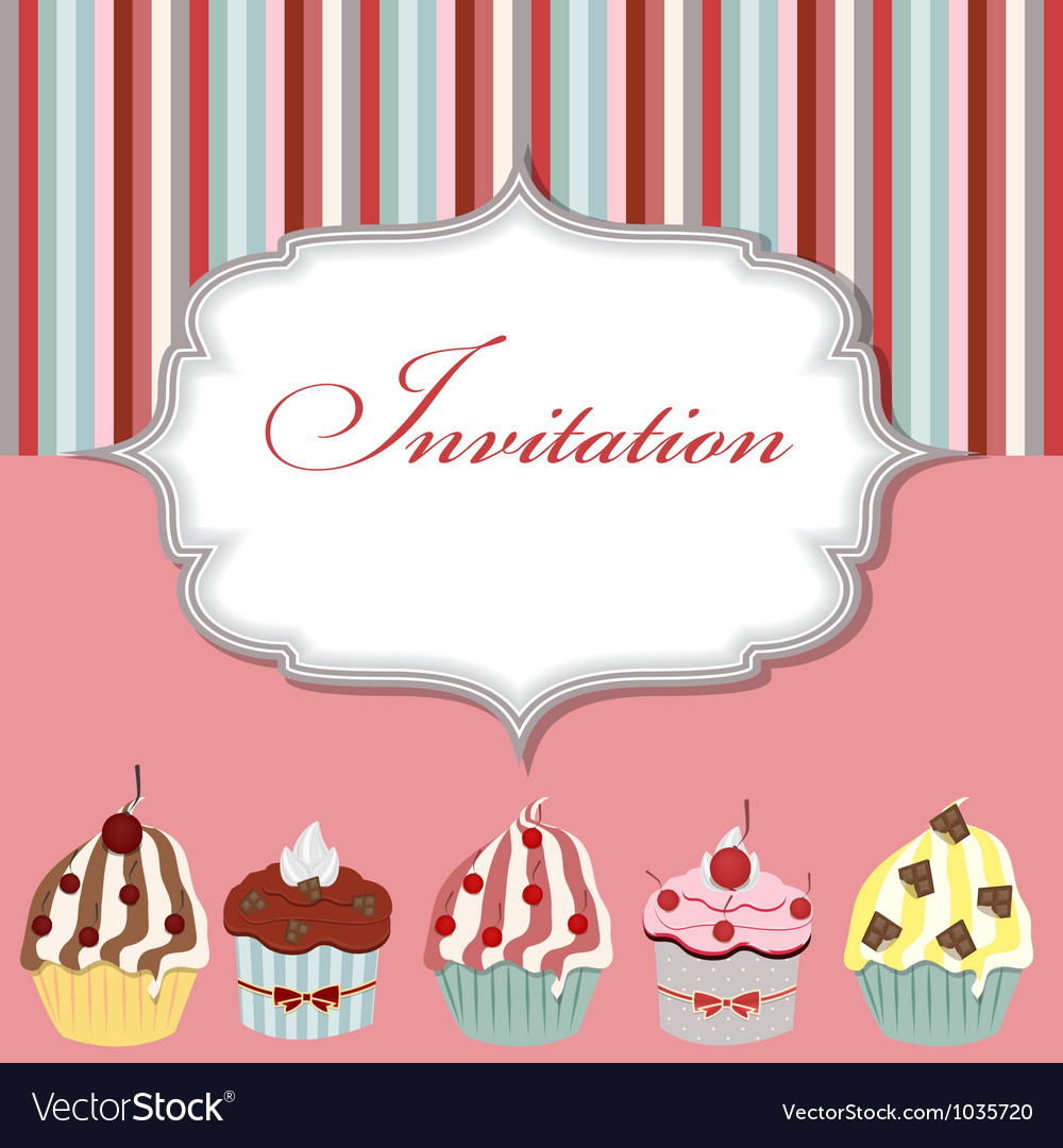 cupcake invitation card royalty free vector image
