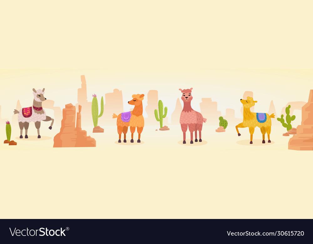 Cute artistic lamas character hand drawn panorama