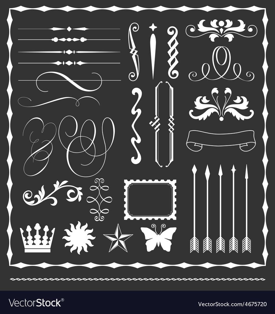 Decorative lines and border elements set