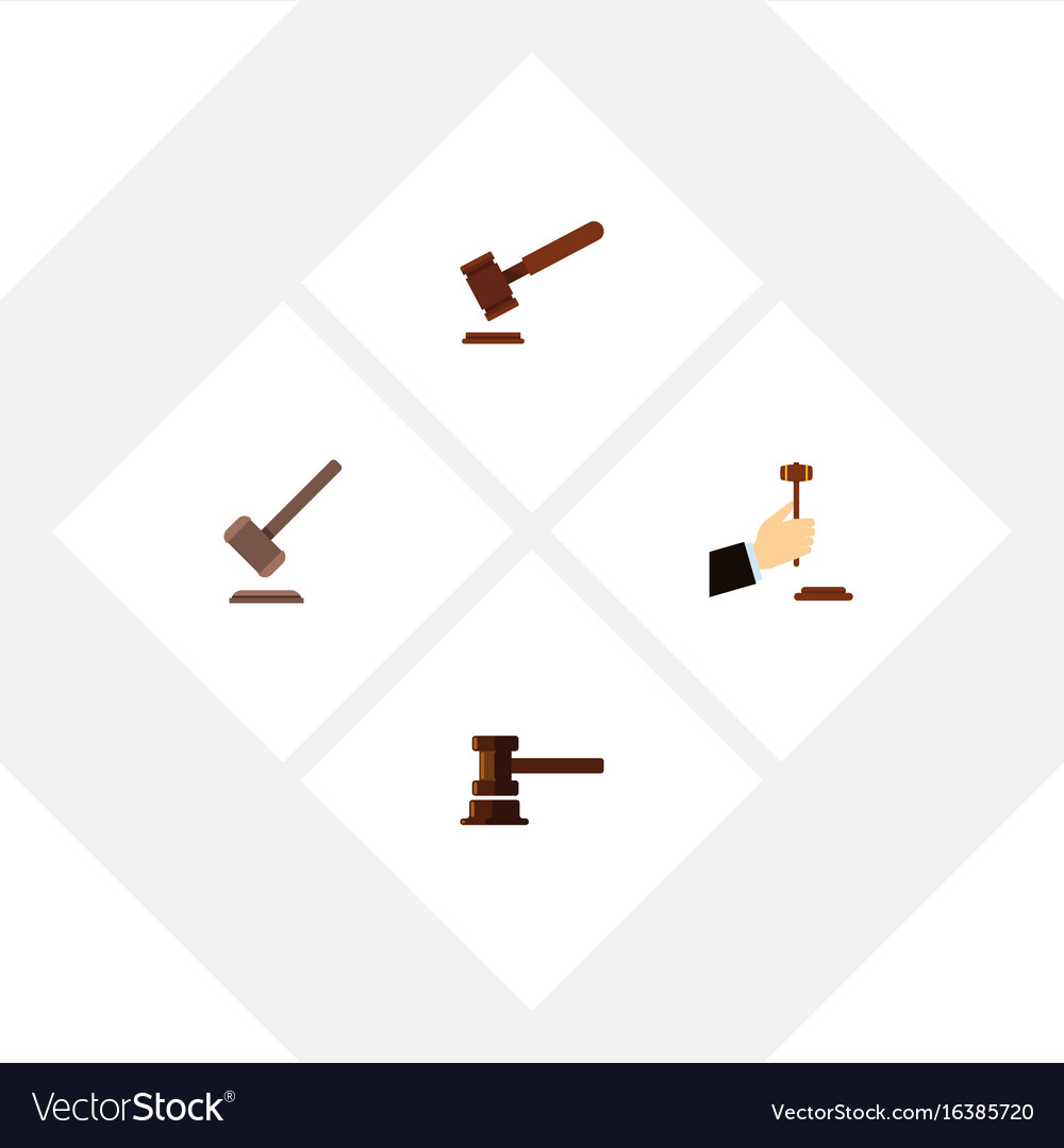 Flat icon hammer set of tribunal justice law and vector image
