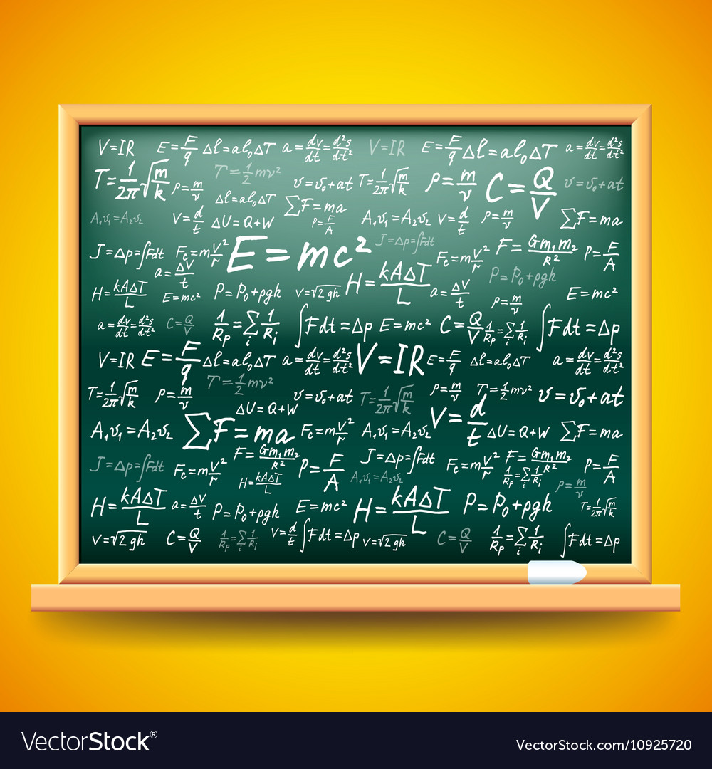 Green school board with physics formulas