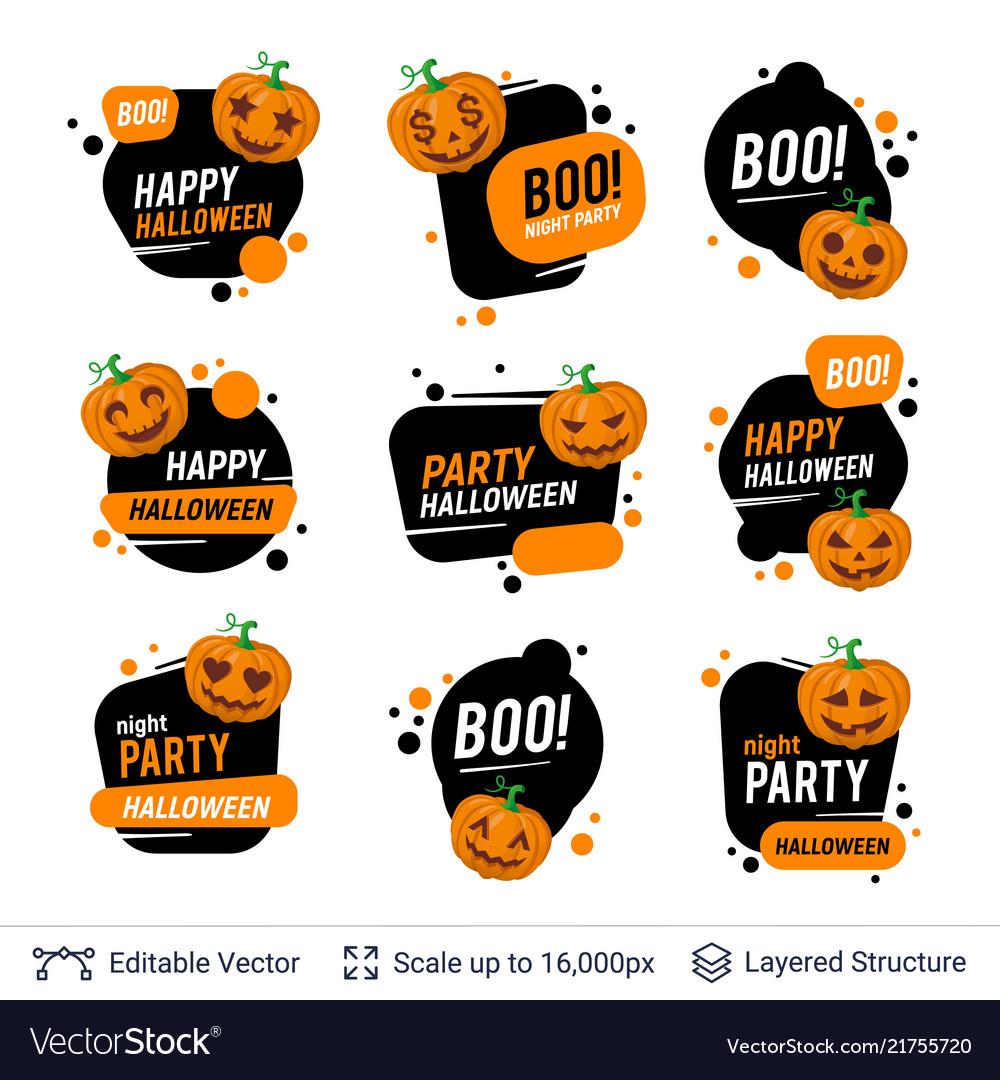 Halloween badges set carved pumpkins and text