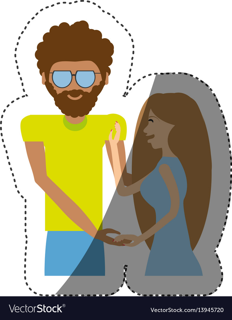 Hipster man with beauty girl shadow