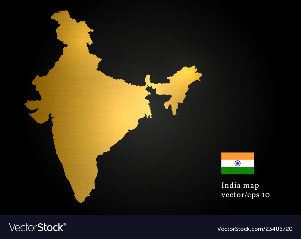 India country map gold texture design image Vector Image