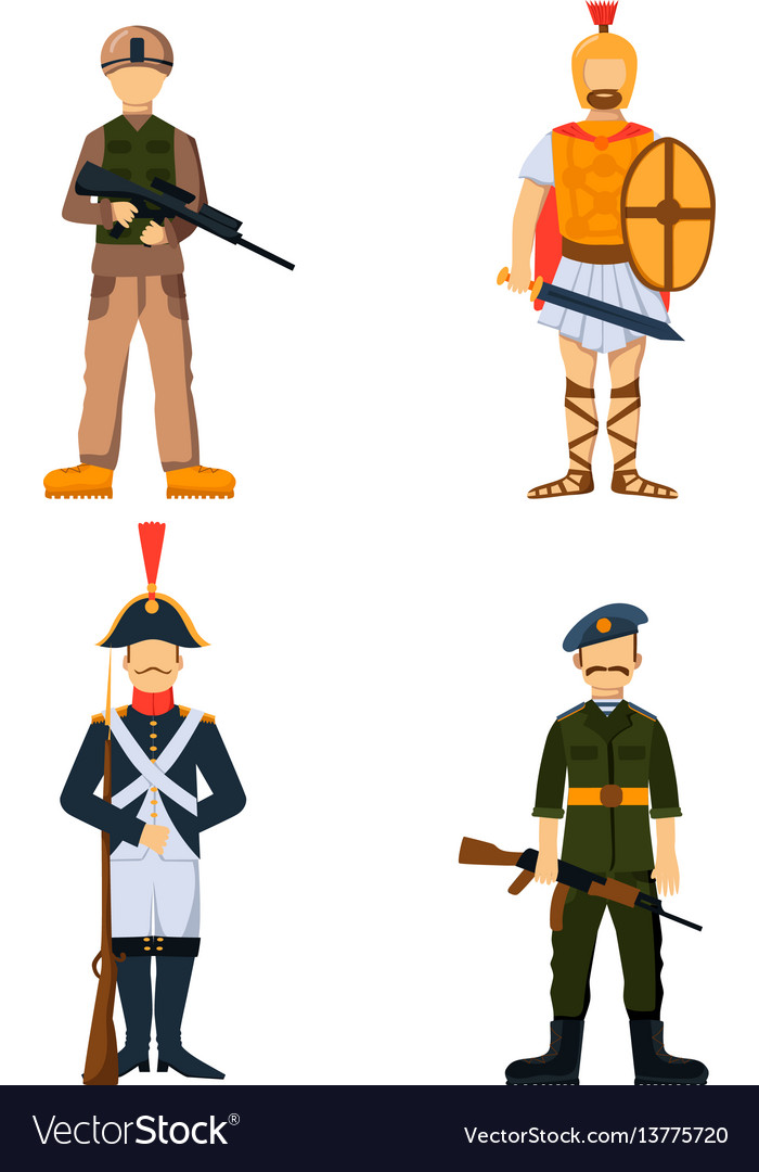 Military soldier character weapon symbols armor