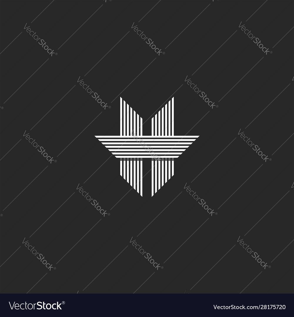 Modern monogram letter h logo spiky shape