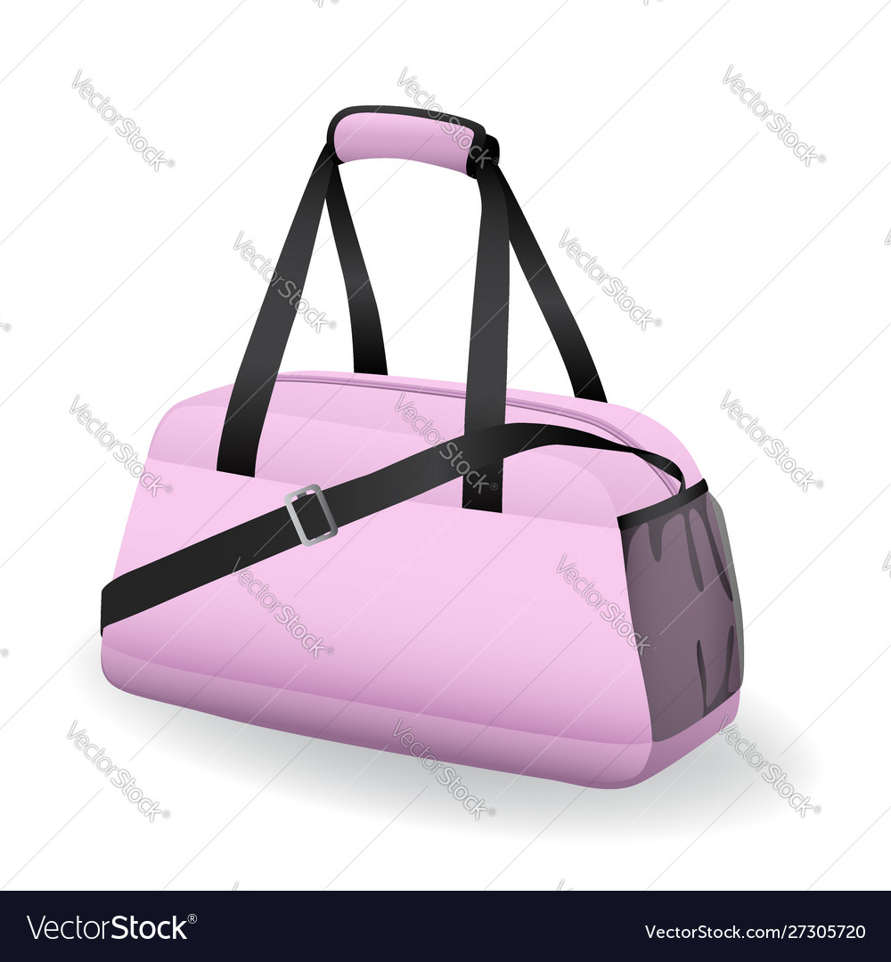 Pink black sport bag for sportswear and equipment