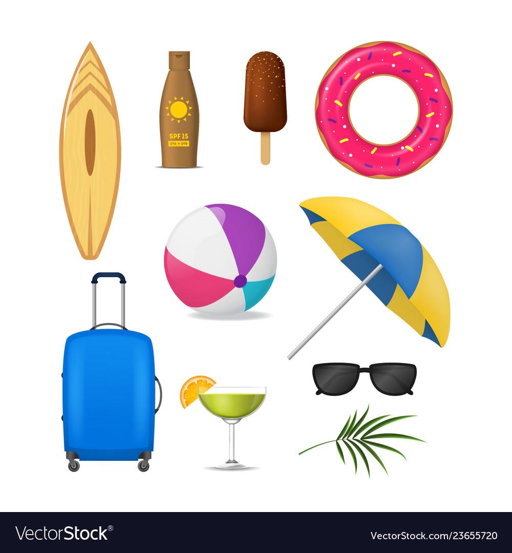 Realistic detailed 3d summer holidays symbols set