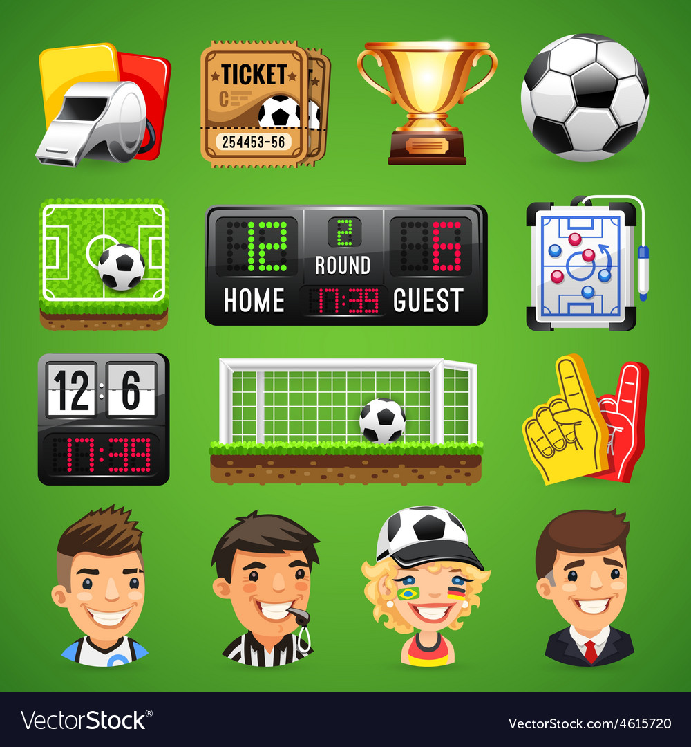 Realistic Icons Set on the Theme of Soccer