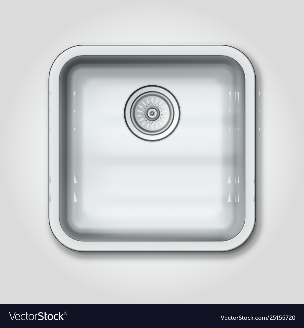 Realistic Shiny Clear Metallic Kitchen Sink Top Vector Image