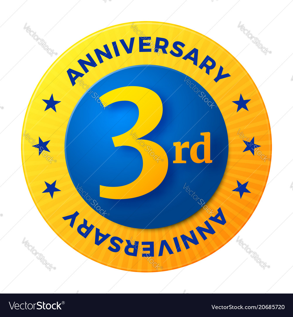 Third anniversary badge gold celebration label