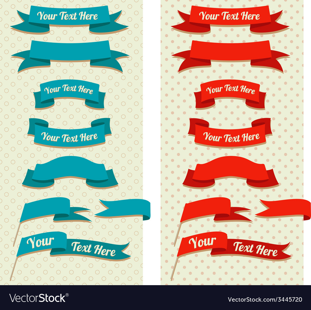 Vintage ribbons and flags on pastel pattern vector image