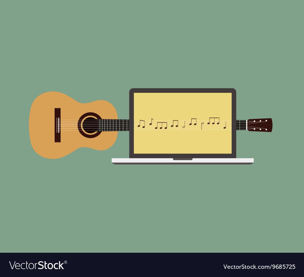 Acoustic guitar melody laptop flat design