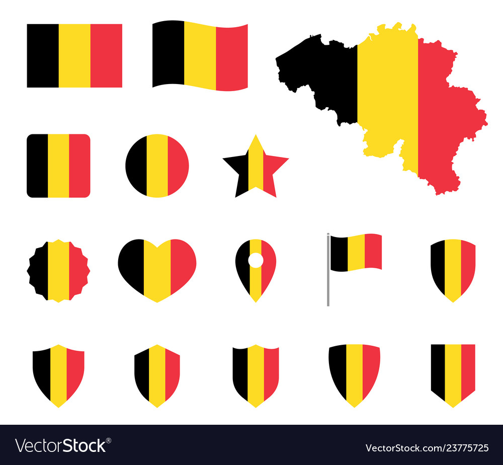 Belgium flag icons set belgian flag symbol