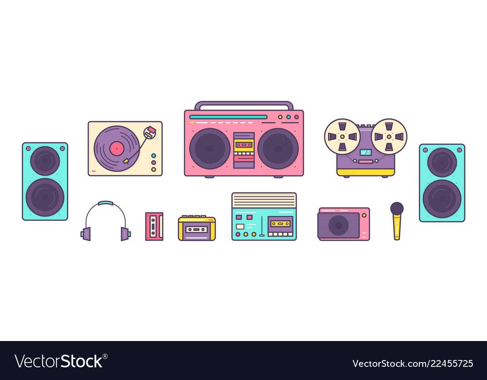 Bundle of retro analog music players reel-to-reel