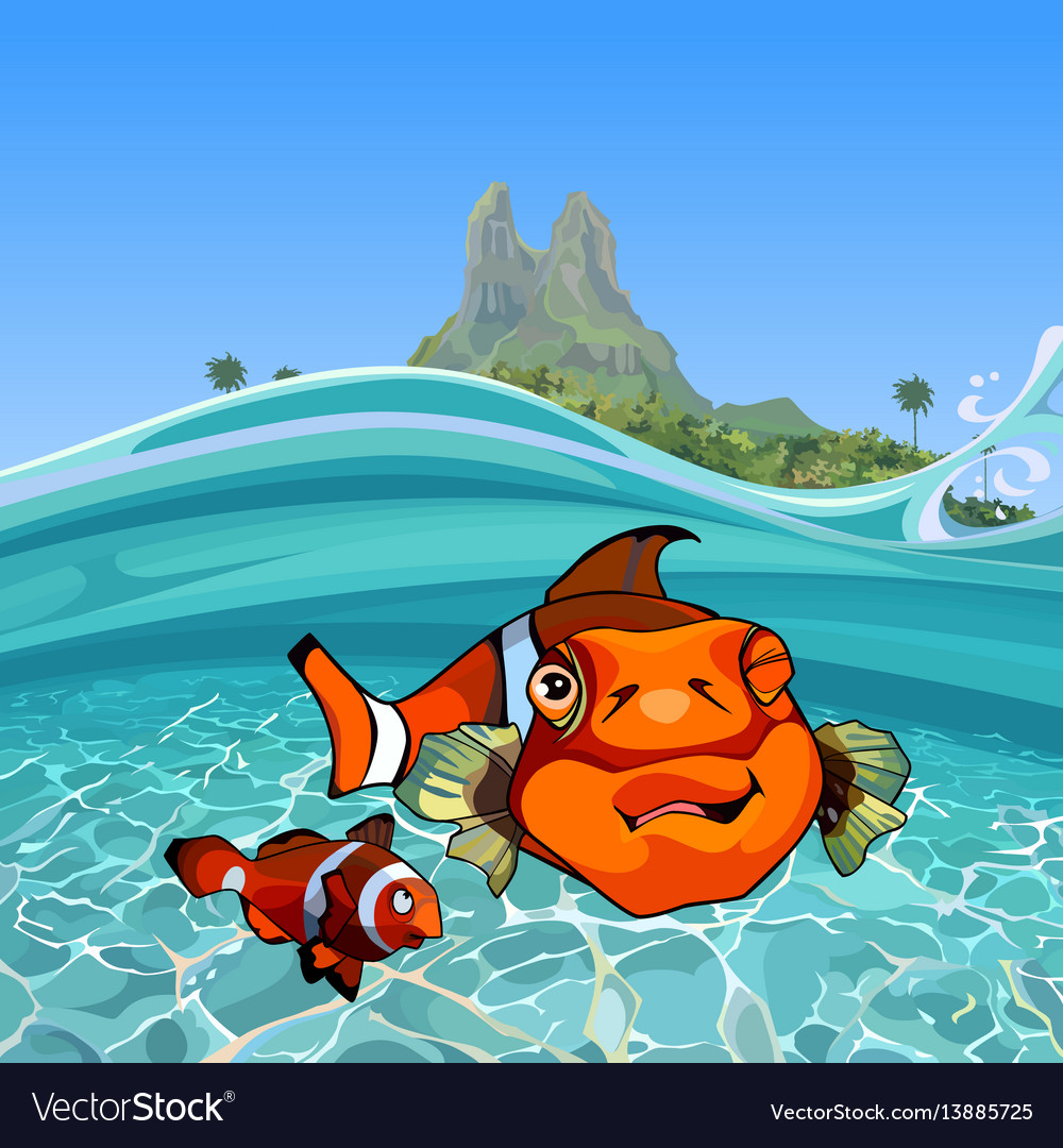 Cartoon funny a clown fishes under water