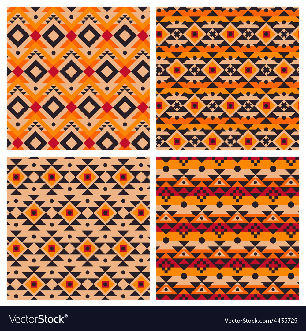 Geometric ethnic aztec mexican seamless patterns