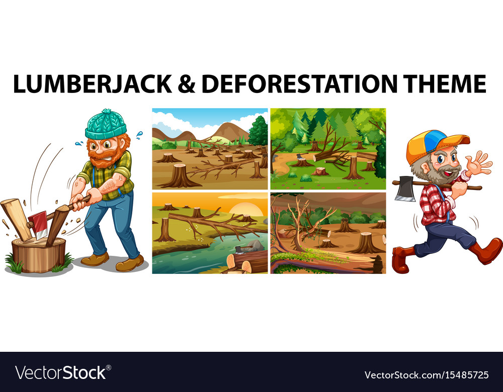 Lumberjack and deforestation scenes