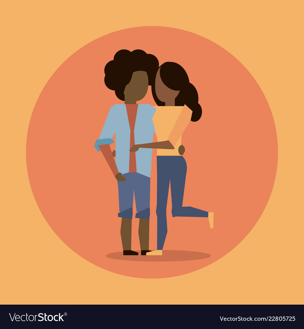 Man and woman afro couple hugging