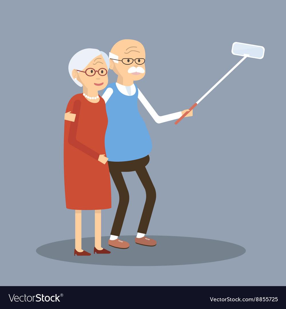 Old Couple Doing Selfie