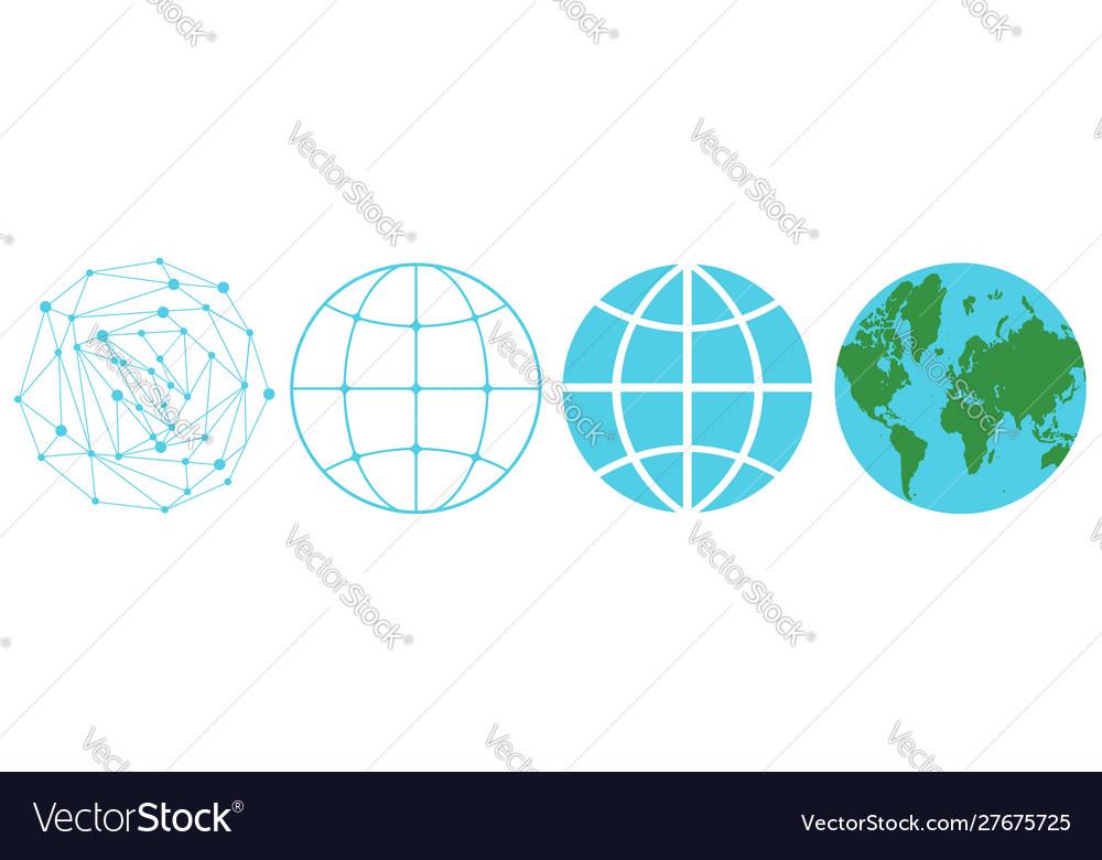 Set icons a globe