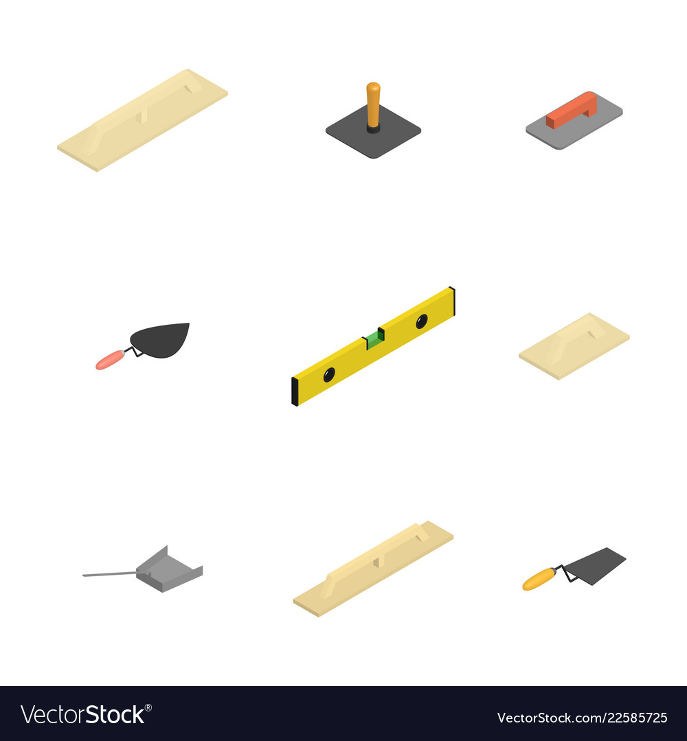 Set of 3d icons plastering tools