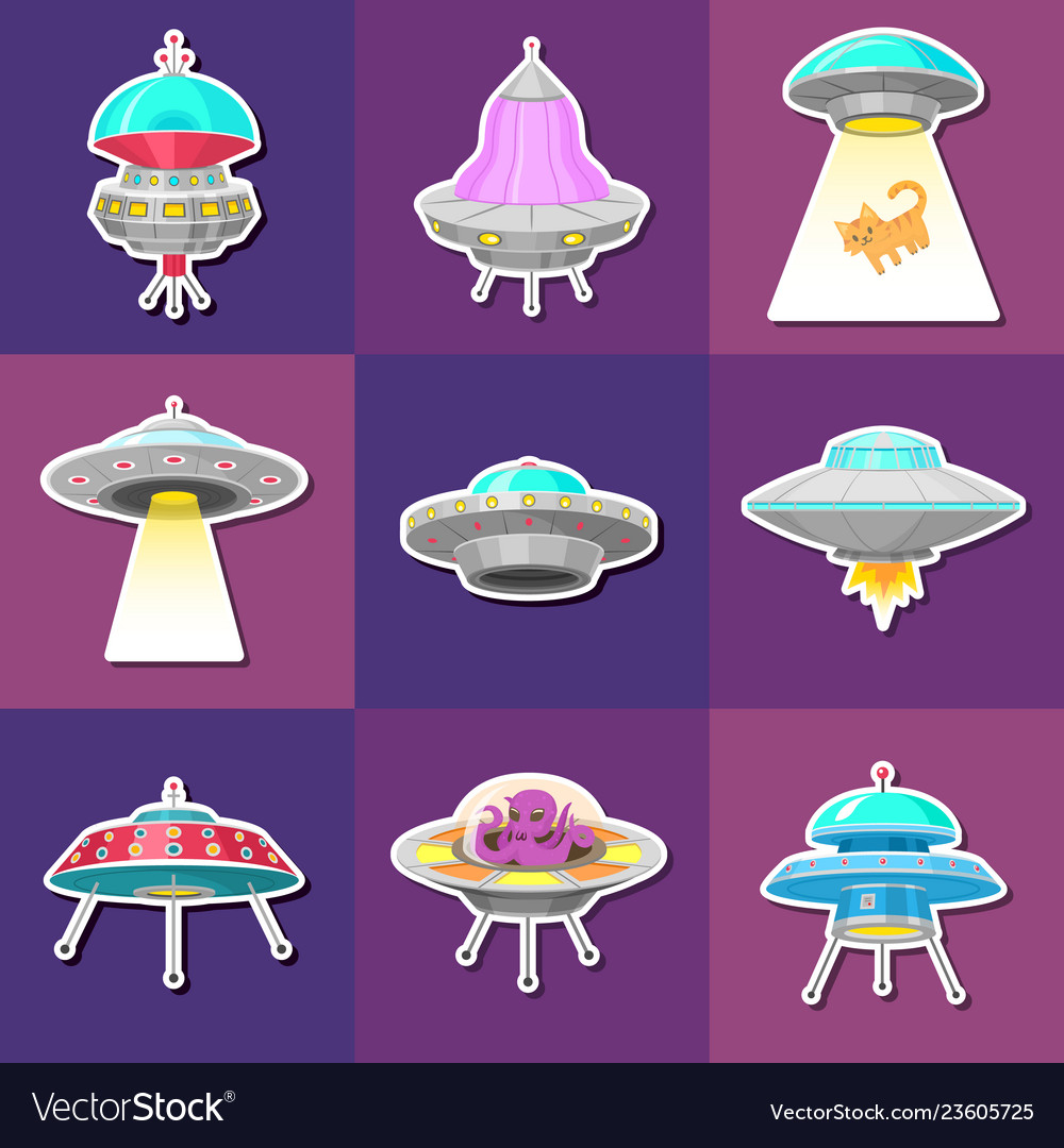 Set of ufo stickers alien spaceships