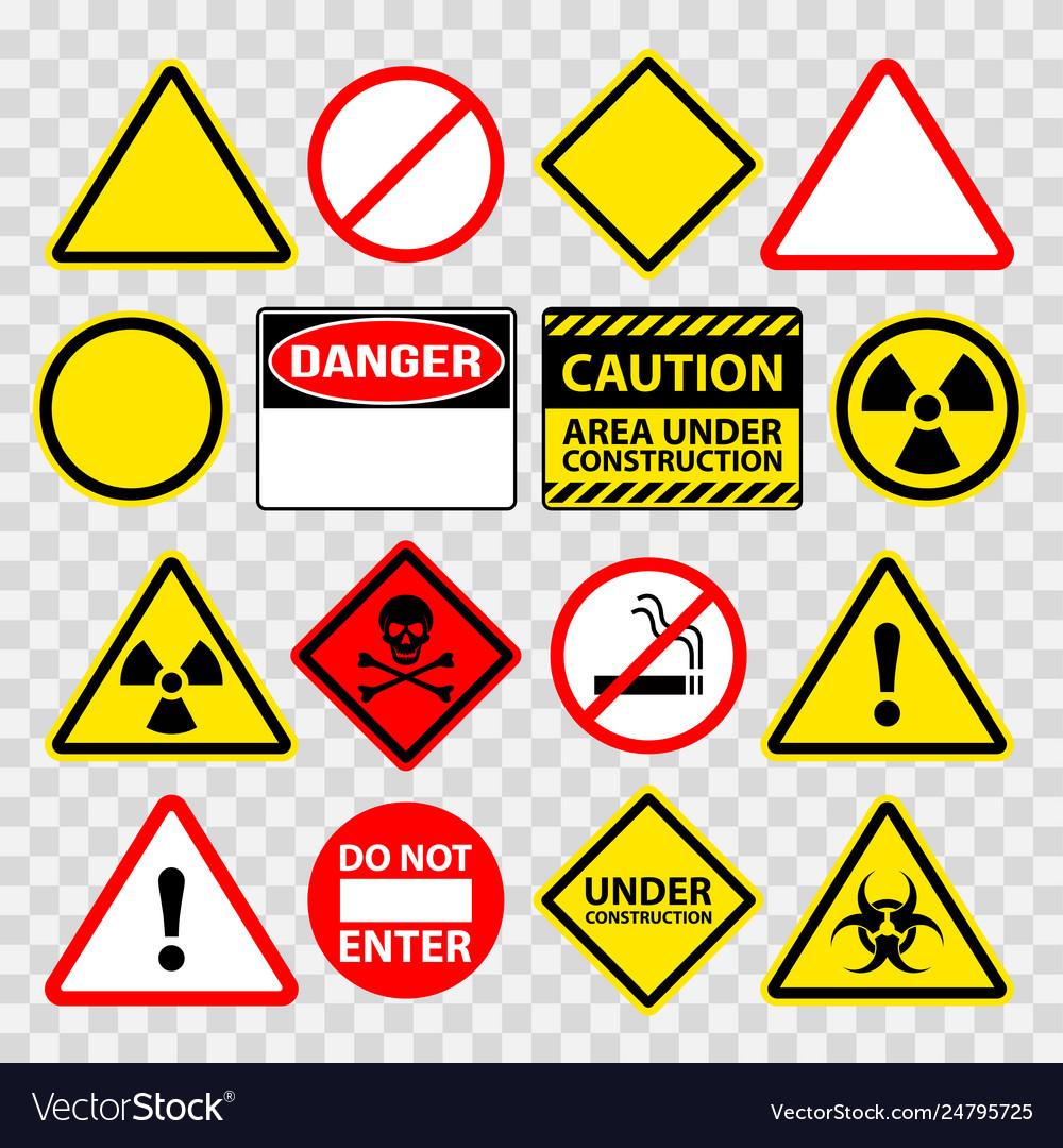Warning danger under construction sings icons set