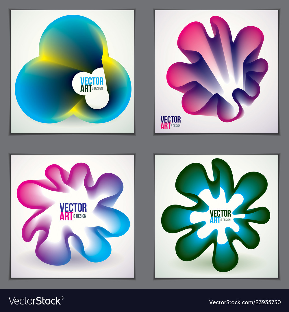 Beautiful flower shapes with colorful gradients