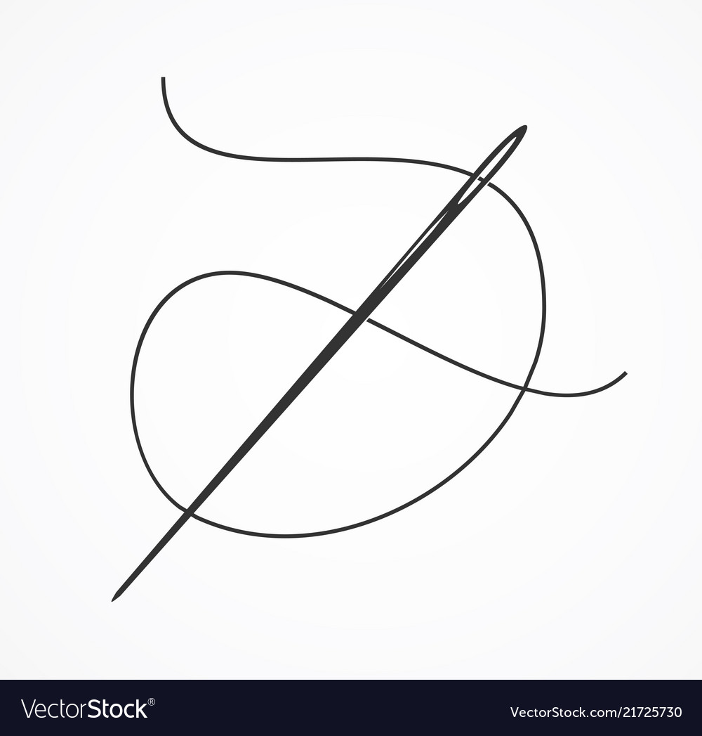 Black silhouette or contour needle and thread
