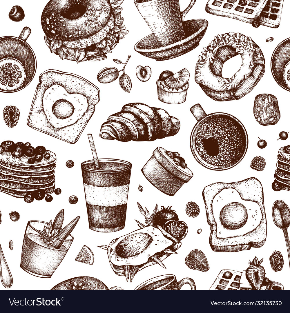 Breakfast dishes background morning food hand