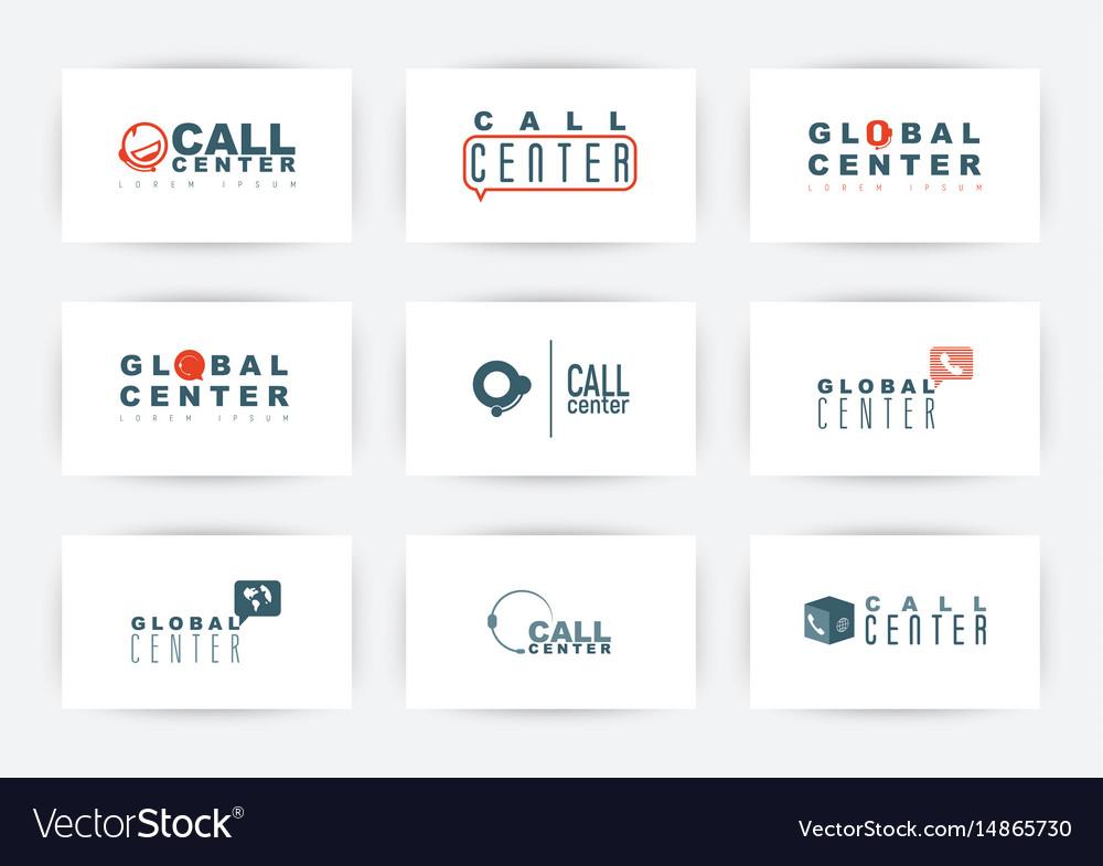 Call center hotline or support service logo set