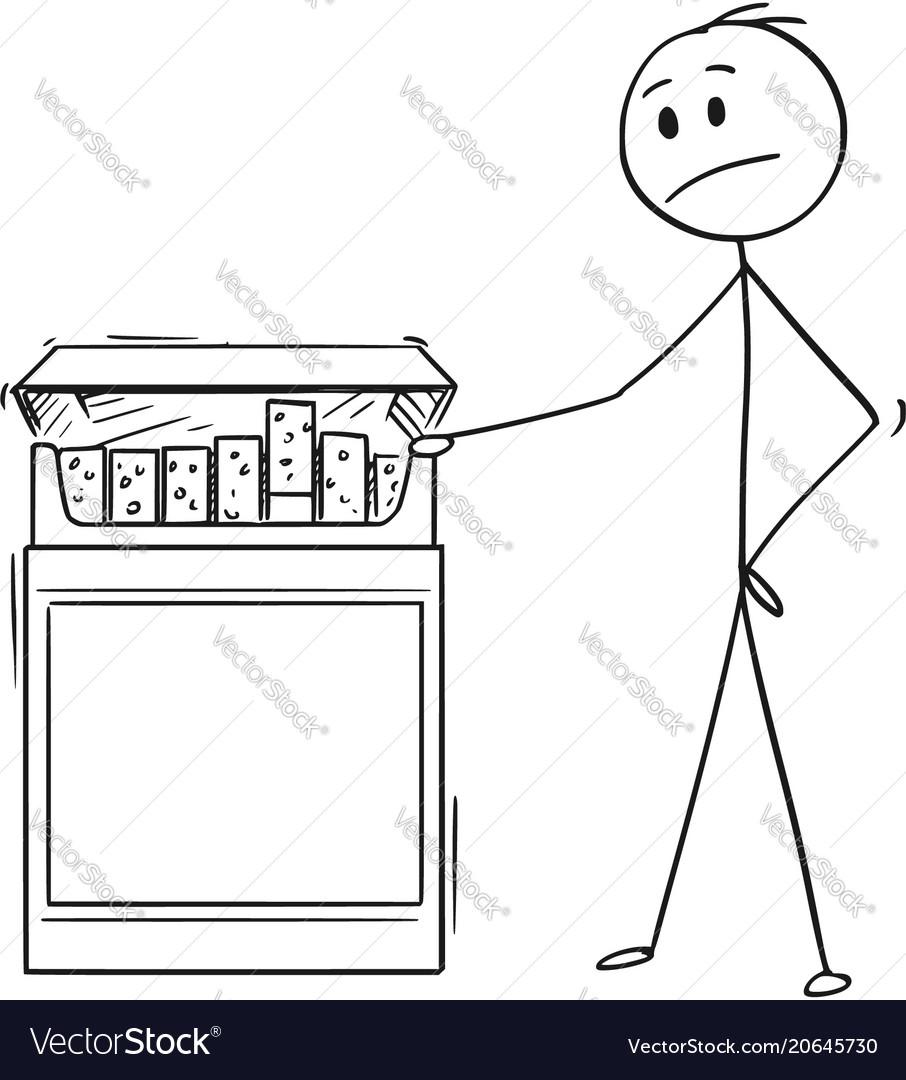 Cartoon of man looking at big box of cigarettes