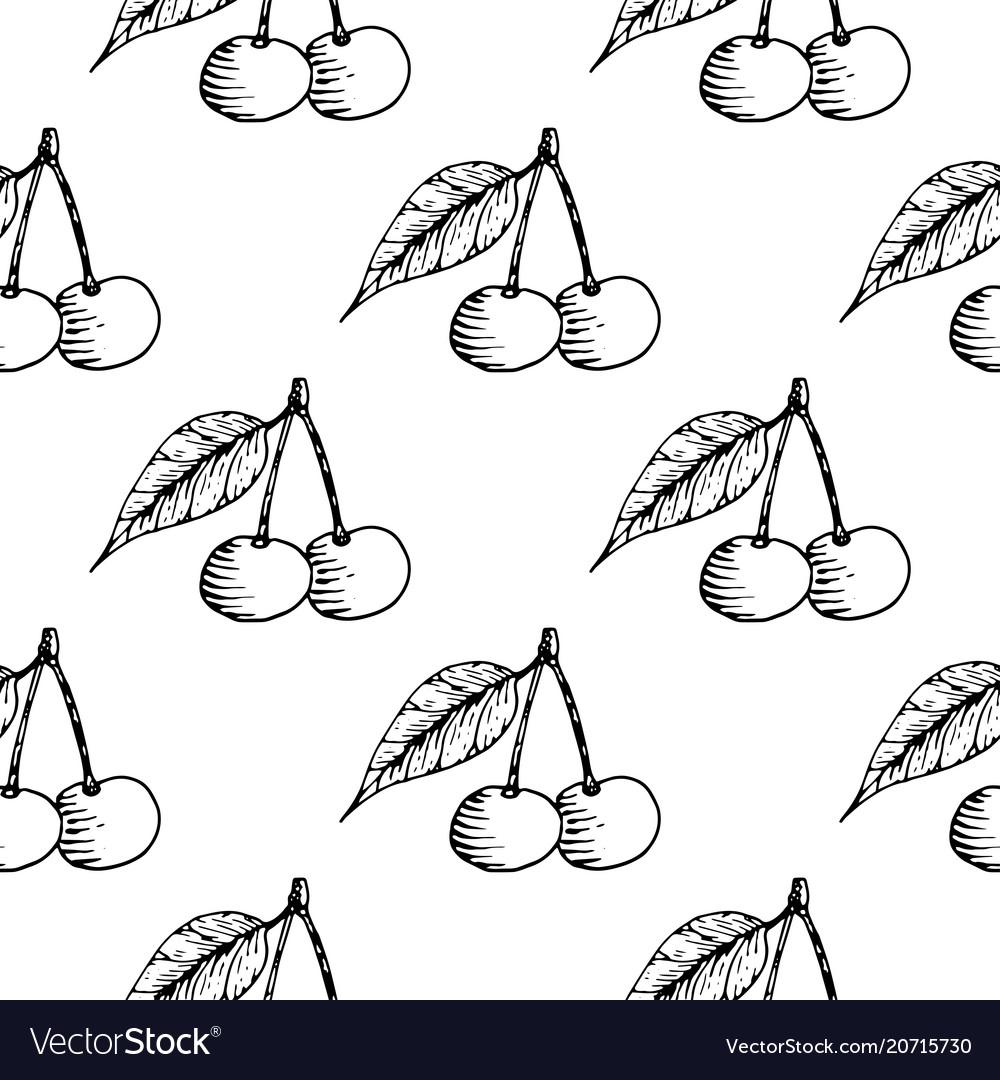 Cherries seamless pattern black hand drawn