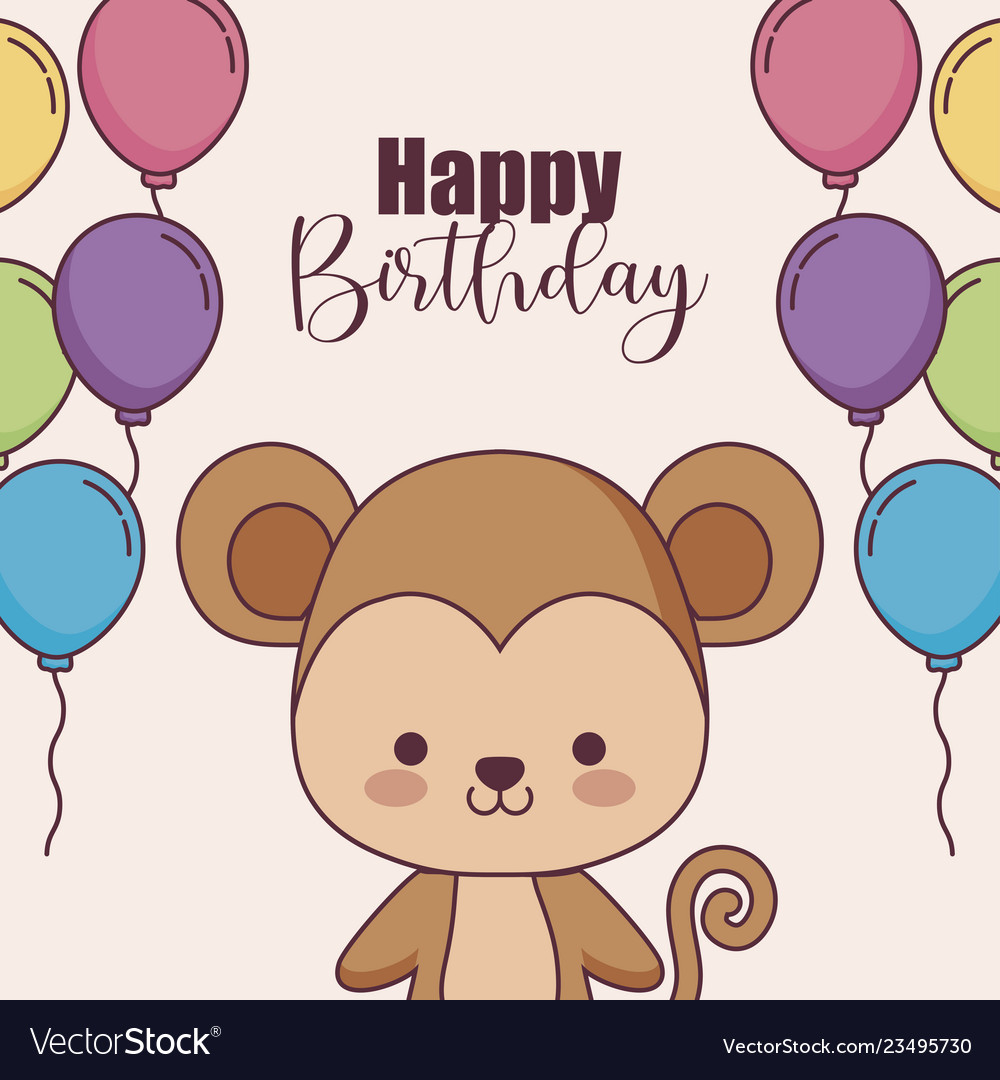 Cute Monkey Happy Birthday Card With Balloons Vector Image