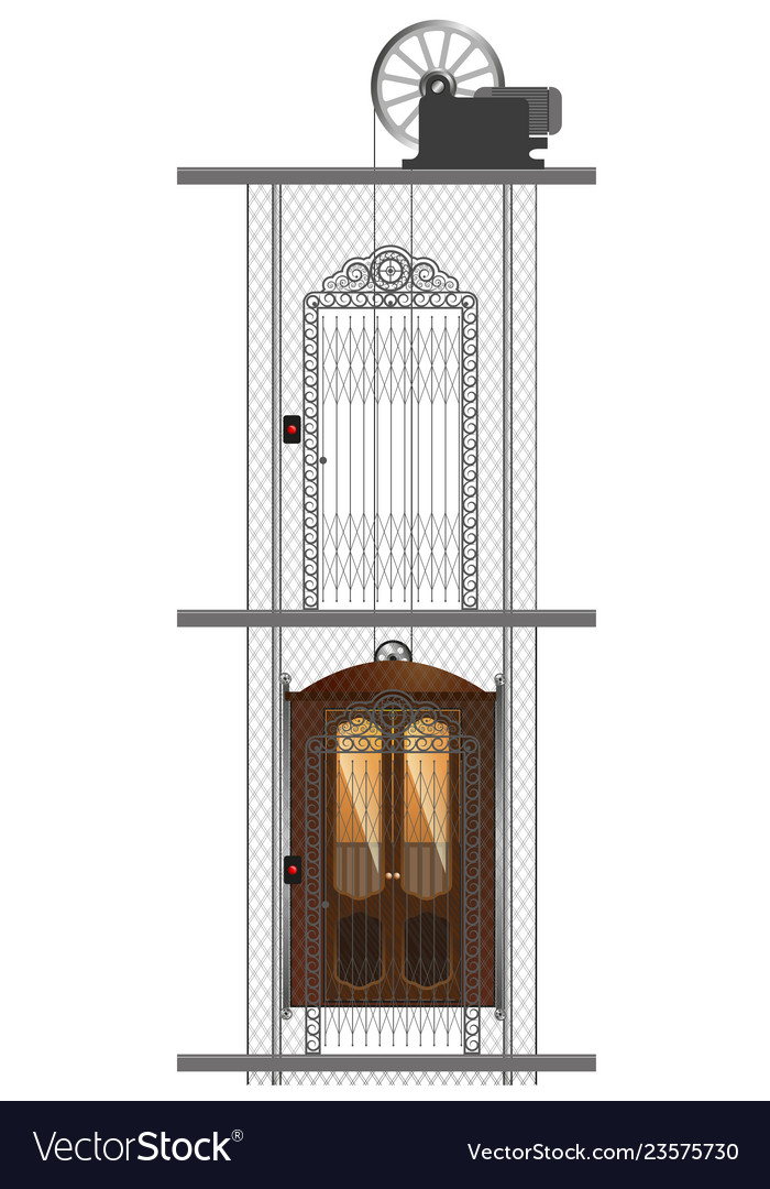 Detailed image of an old metal elevator in a