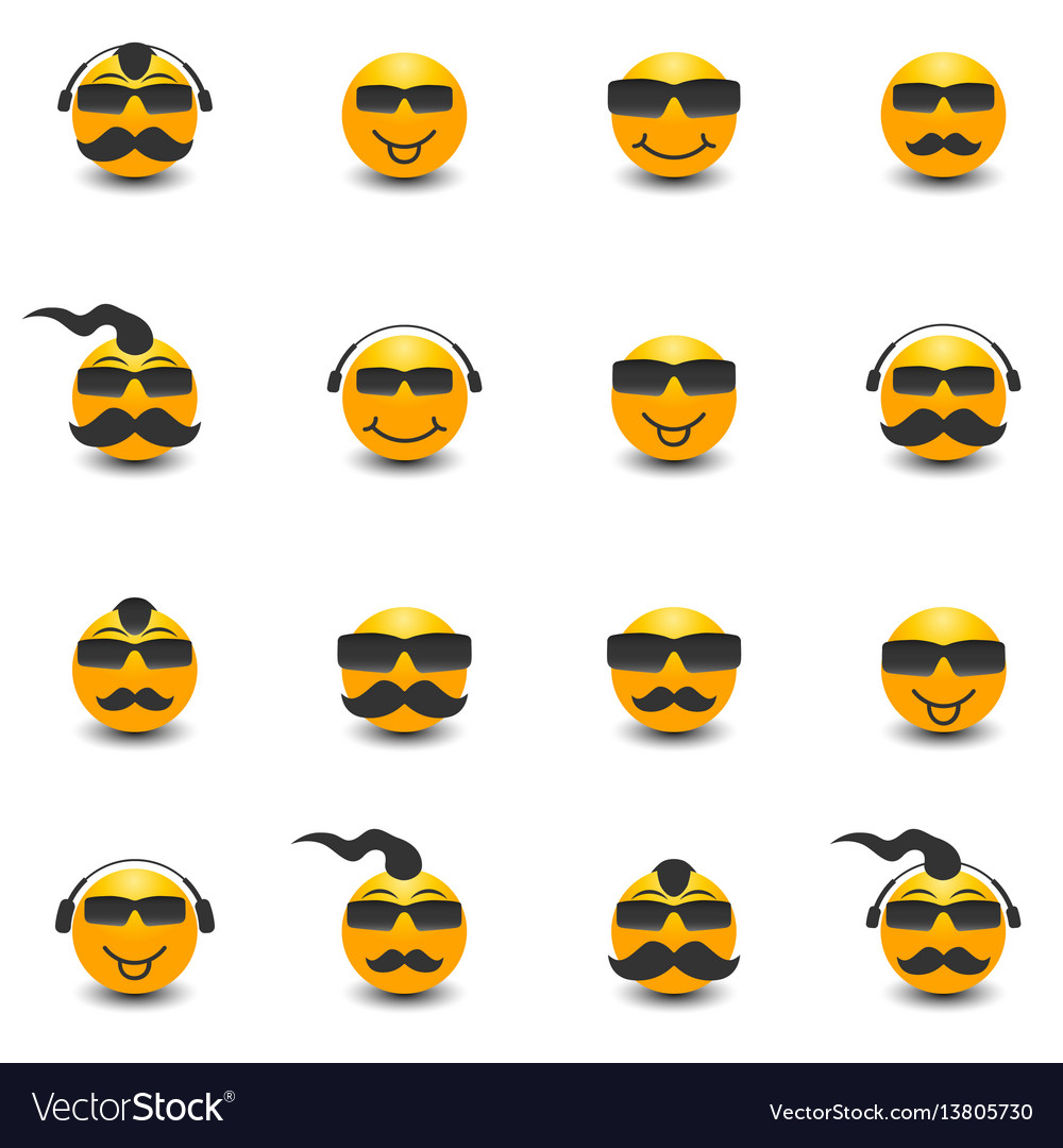 Funny face with a mustache and sunglasses