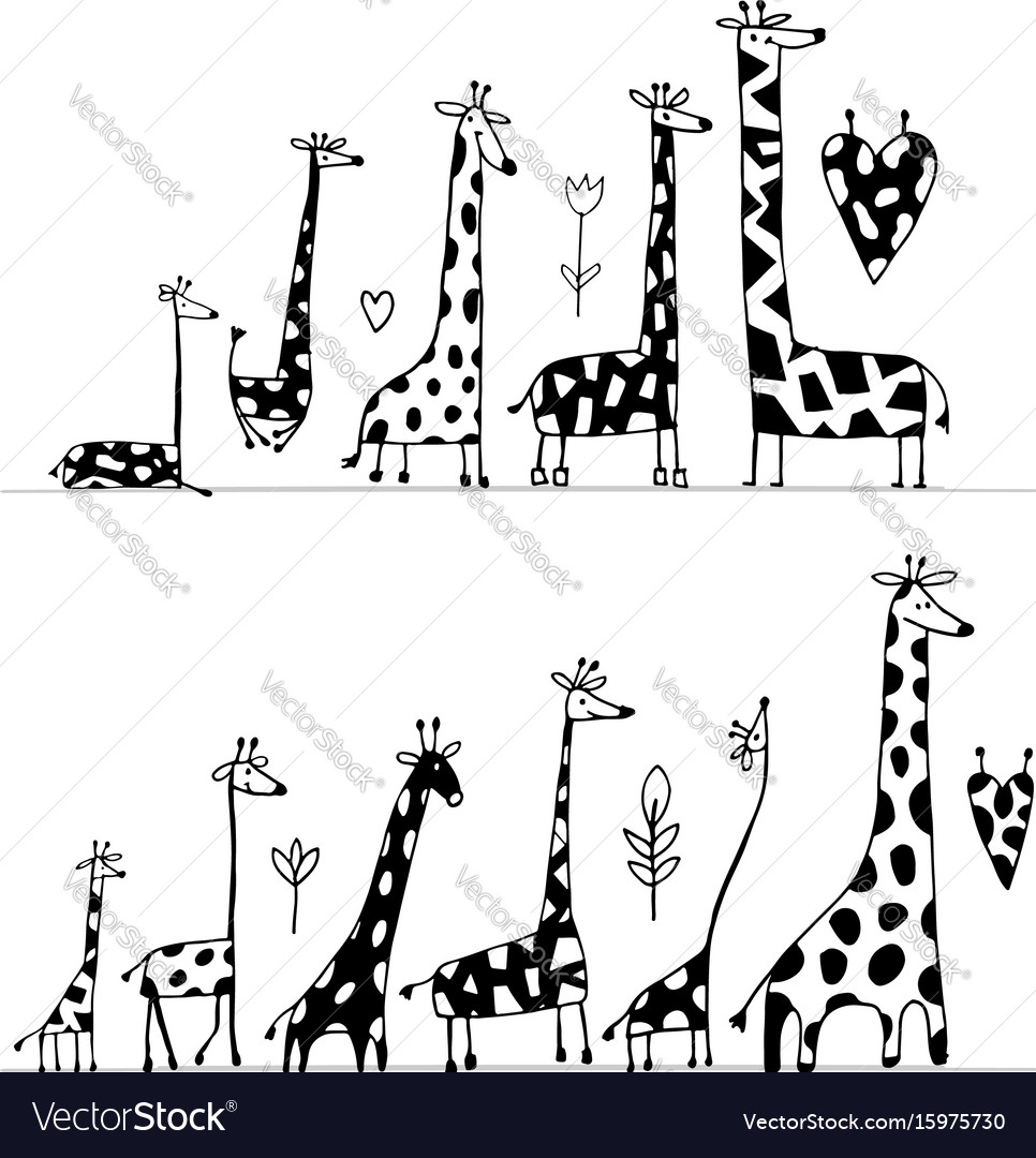 Giraffes family sketch for your design vector image