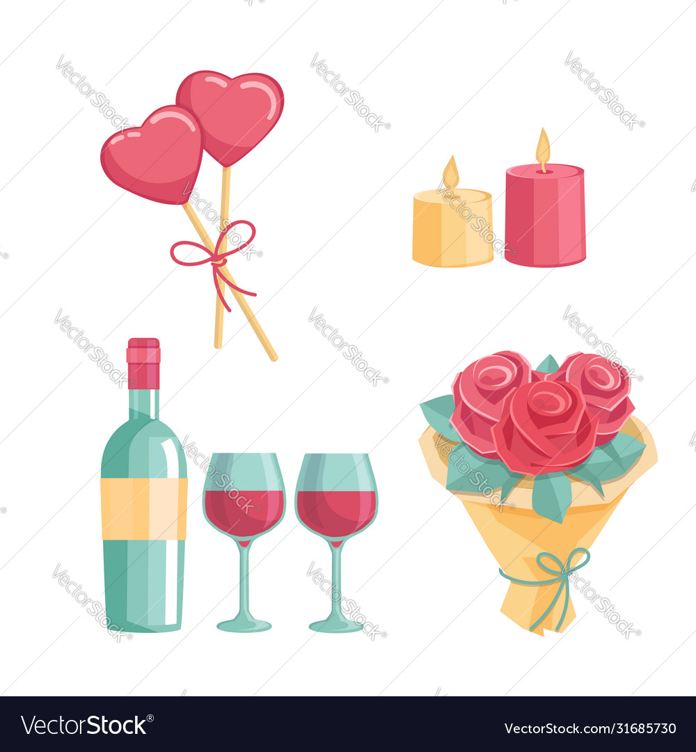 Icons for a romantic dinner