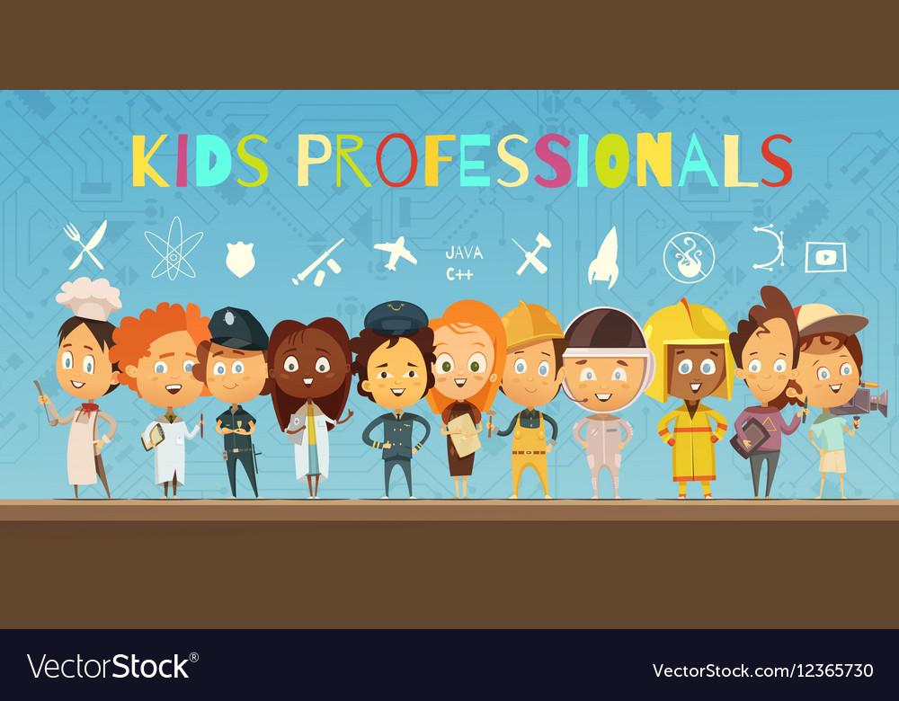 Kids in Costumes Of Professionals Cartoon vector image