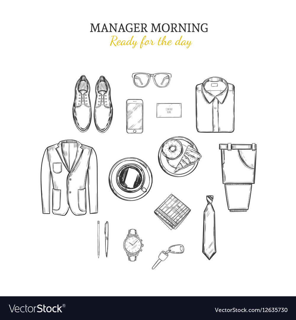 Manager Morning Hand Drawn Concept vector image