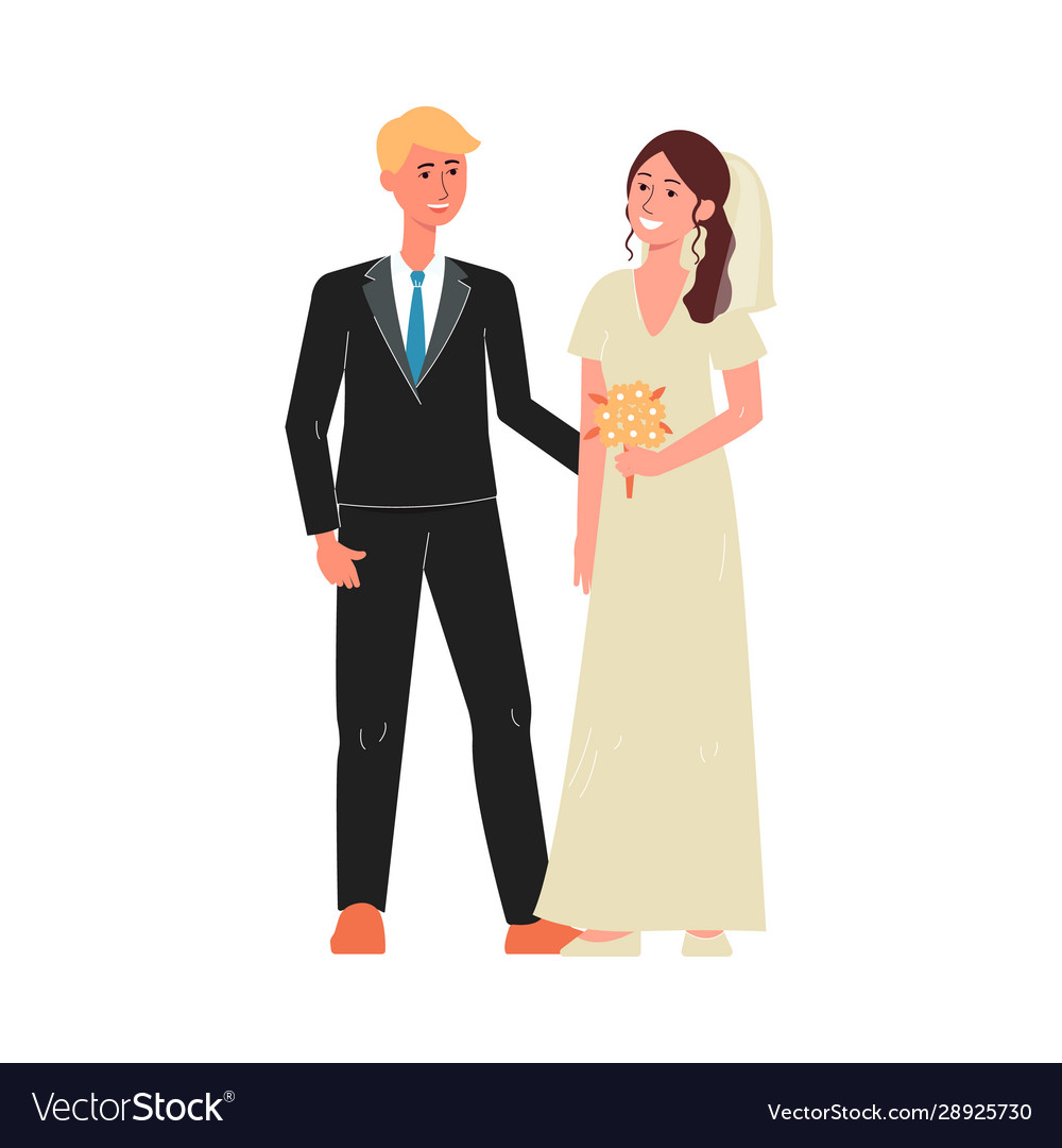 Marriage couple characters in wedding day flat