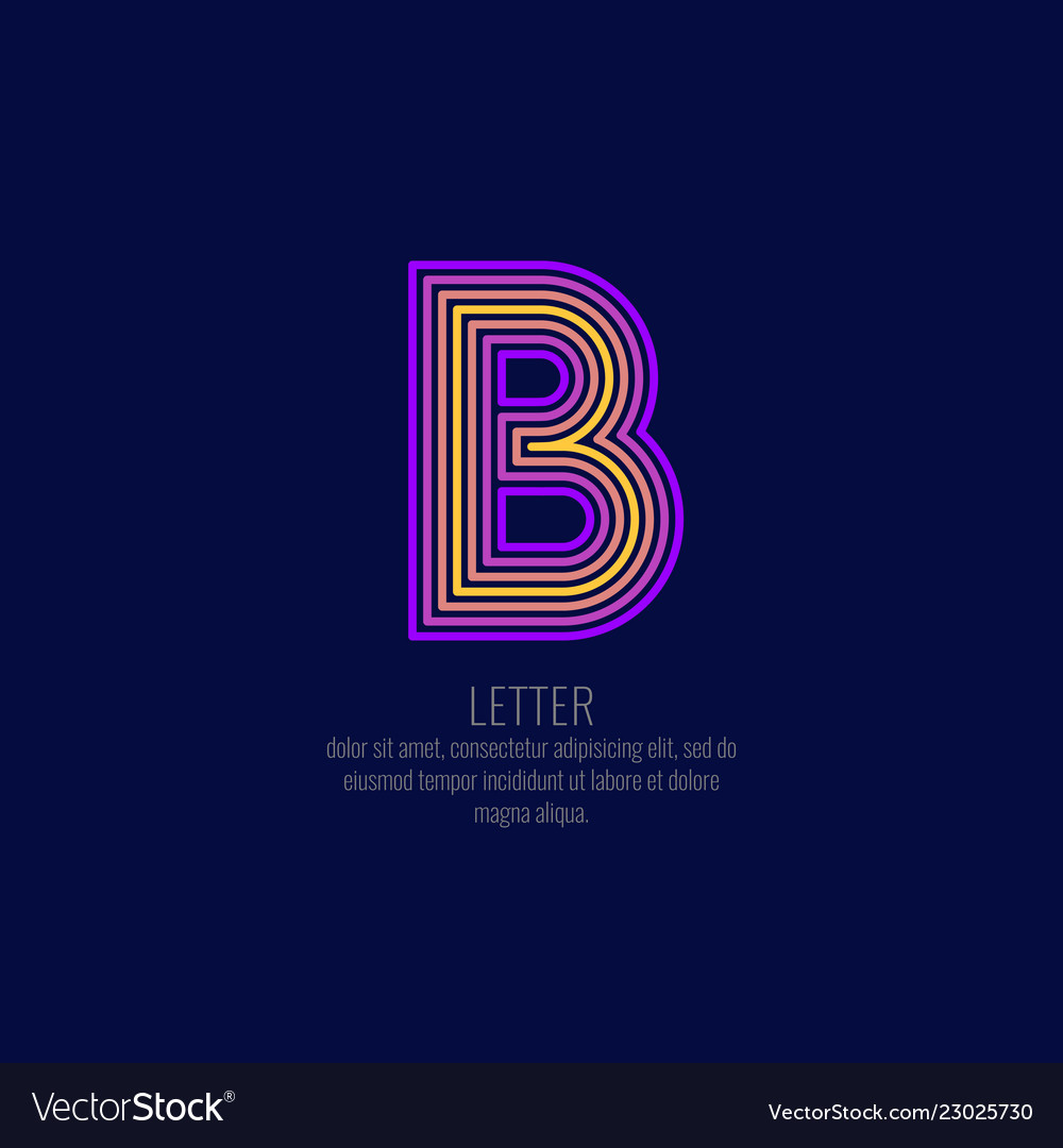 Modern linear logo and sign the letter b