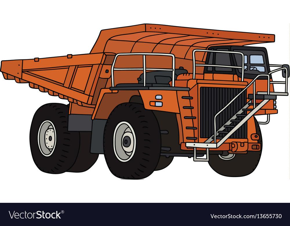 Orange mining dump truck vector image