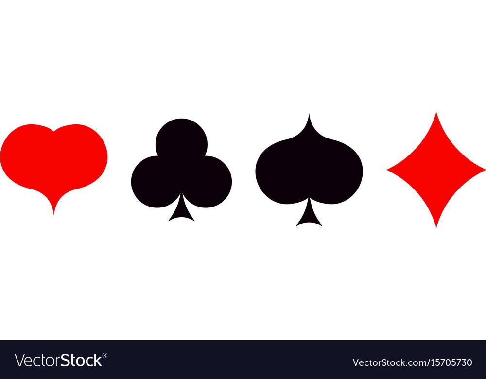 Playing Card Poker Symbols Set Ace Set Royalty Free Vector